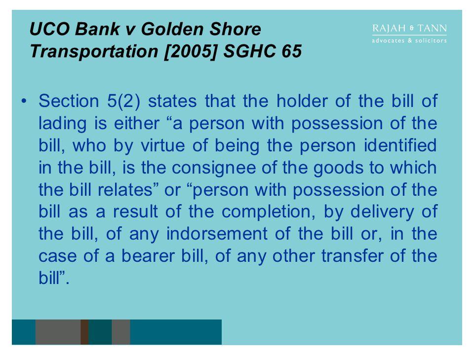 UCO Bank v Golden Shore Transportation [2005] SGHC 65